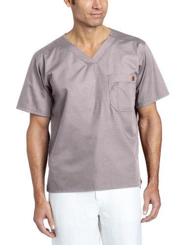 Carhartt Men's Solid Ripstop Utility Scrub Top, Pewter X-Large