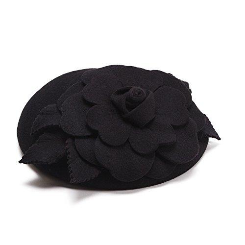 (Flower Womens Dress Fascinator Wool Pillbox Hat Party Wedding A083 (Black))