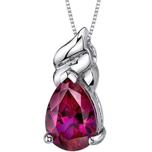 Dashing 3.75 carats Pear Shape Sterling Silver Rhodium Nickel Finish Created Ruby Pendant