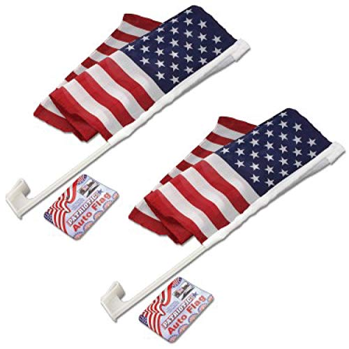 2 Count Patriotic Auto Flag Window Clip On Flag Great For Parades Memorial Flag Labor Day Holidays Fourth Of July Veterans Day Support Our Troops With An American Car Flag Nylon Double Sided All Weath