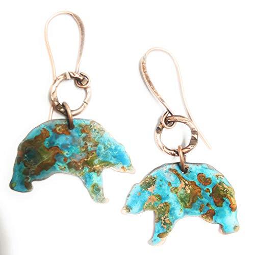 Boho Turquoise Rust Patina Bear Earrings Copper Jewelry Gift Ideas for Women