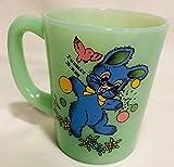 Chocolate Mug - Rosso Glass Exclusive - USA - American Made - Jade Jadeite Jadite Green Glass (Jade, Bubbles Bunny)