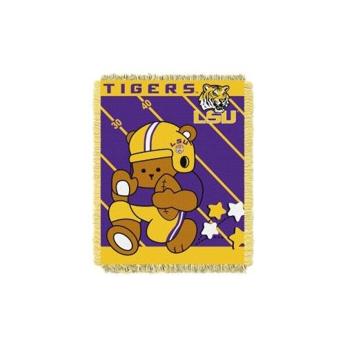 The Northwest Company Officially Licensed NCAA LSU Tigers Fullback Woven Jacquard Baby Throw Blanket, 36