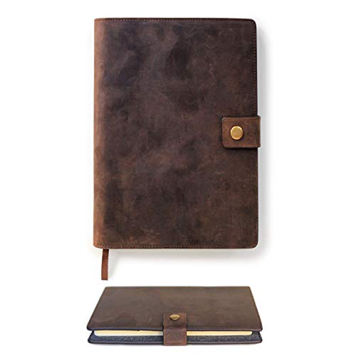 - CASE ELEGANCE Full Grain Premium Leather Refillable Journal Cover with A5 Lined Notebook, Pen Loop, Card Slots, & Brass Snap