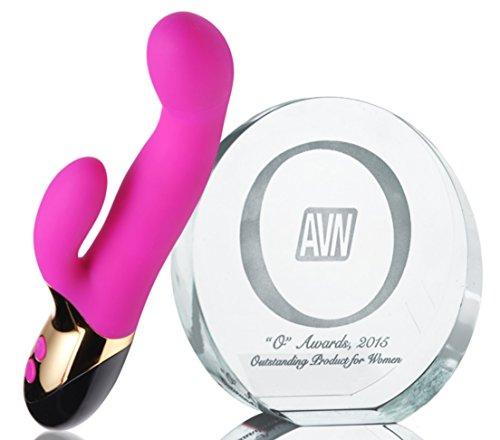 Orgasm Awards Winning Premium Body-Safe Silcone USB-Rechargeable Rabbit Style Vibrator + Includes a Free HempSeed Ultra-Moisturizing Hand-&-Body Lotion 7 Oz by Inmi