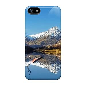 New Premium Flip Case Cover Moon Reflection In A Lake Skin Case For Iphone 5/5s WANGJING JINDA
