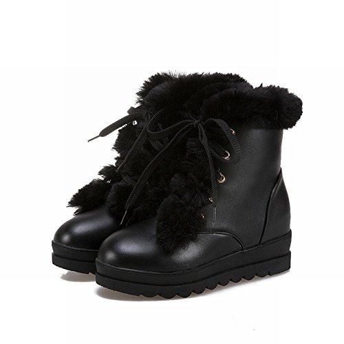 Carolbar Womens Leuke Lace Up Zoete Namaakbont Warme Verborgen Hak Snowboots Zwart