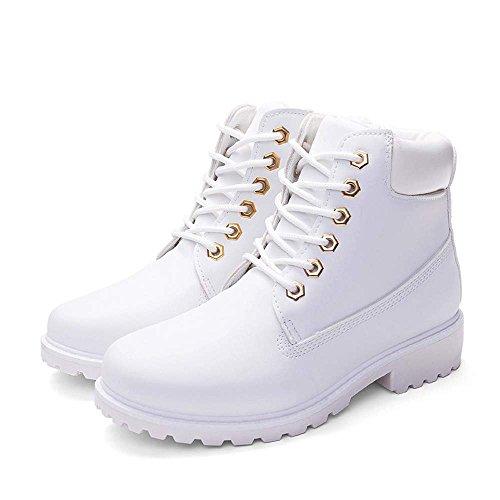 Martin Zapatos Las Botas Otoño QUICKLYLY Pie del de Botas Botas Moda Blanco Zapatos Redondo Sola Dura Salto Botas Mujeres Mujeres Mujer de Dedo Zapatos de de Mujer Plana de Primavera a8rqwIx4qd