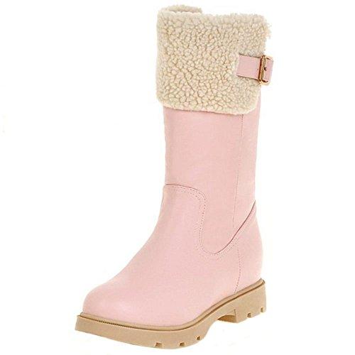 COOLCEPT Botas Bowknot Cremallera para Mujer Pink