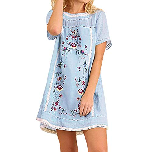 Willow S Women's Bohemian Vintage Embroidered Realistic Floral Print Pullover Short Sleeve Dress Tunic Blue