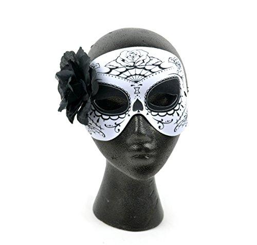 Mask-It 76109 Mask-It (Mau63) Mask-It Day of The Dead black & White Half Mask W/black Flower 7.5