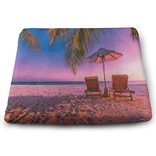 (Seat Cushion Sunrise Palm Tree Sea Beach Sand Beach Chair Cushion Fabulous Offices Butt Chair Pads for Outdoors)