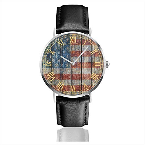 (Wooden USA American Flag Colored Men's Fashion Minimalist Unisex Wrist Watch with Silvery Stainless Steel Watchcase, Leather Band, Crystal Dial 38mm )