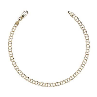 "10k Yellow Gold High Polished Solid Double Link Charm Bracelet for Women and Girls(0.14"")"
