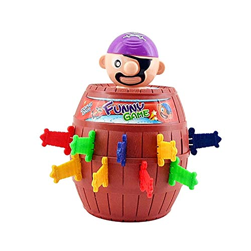 FONGFONG 1 Set Pirate Funny Barrel Novelty Toy Bucket Running Man Pirate Roulette Game for Kids Over 3 Years Old and Adults