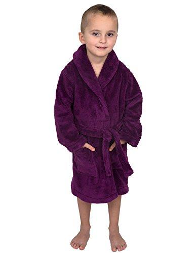 TowelSelections Little Boys' Robe, Kids Plush Shawl Fleece Bathrobe Size 6 Sparkling ()