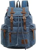 MissFox Vintage Canvas Backpack Rucksack School Bag Satchel Hiking Bag