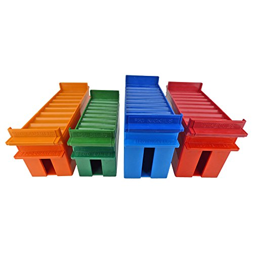(Rolled Coin Standard and Extra-Capacity Tray Set, Color-Coded Heavy Duty Plastic, Assorted Colors)