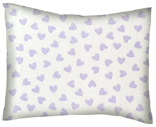 SheetWorld-Crib-Toddler-Percale-Baby-Pillow-Case-Pastel-Lavender-Hearts-Woven-Made-In-USA
