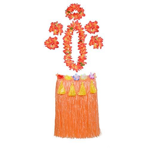 Hula Skirt Halloween (Maiheimoon Hawaiian Hula Skirt Grass Double Layer Thickened Dancing Skirt for Beach Party, Orange Tassel-Length 15.7