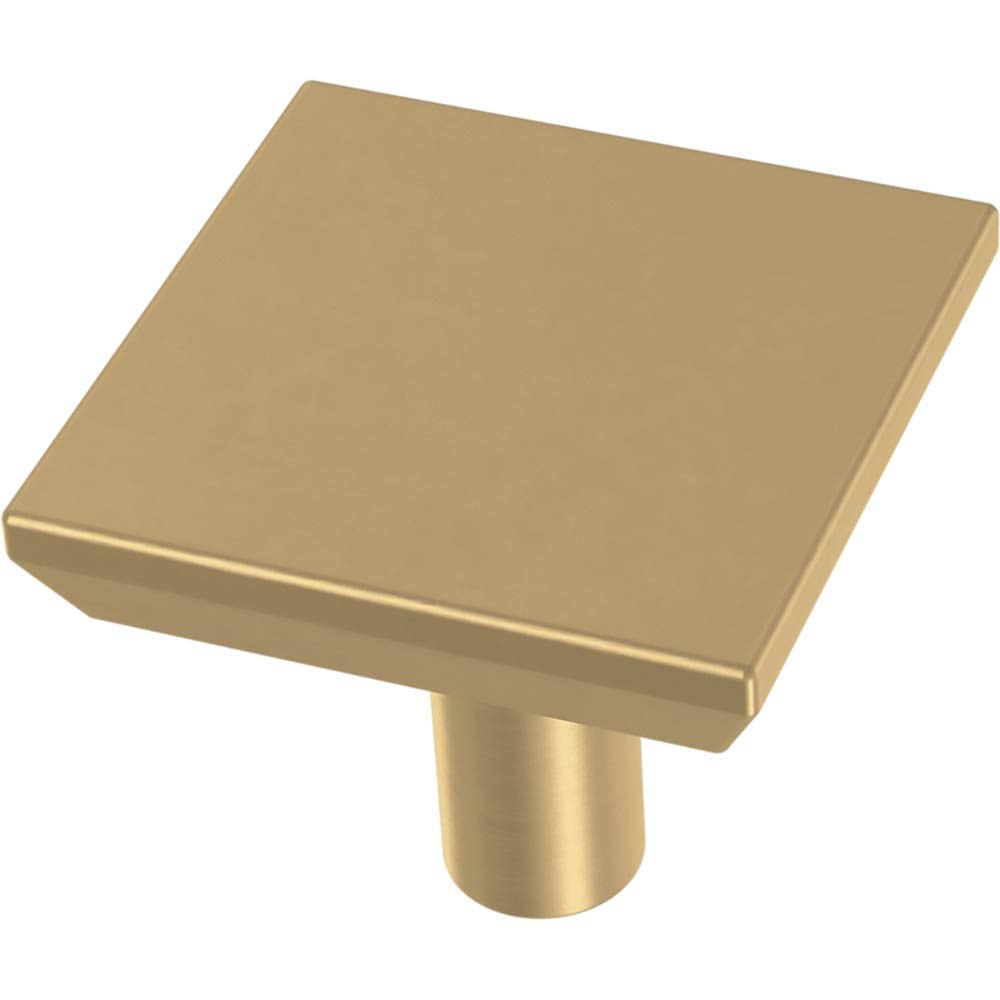Franklin Brass P40847K-117-C Simple Chamfered Square Kitchen or Furniture Cabinet Hardware Drawer Handle Knob, 1-1/8-Inch (29mm), Brushed Brass, 10-Pack