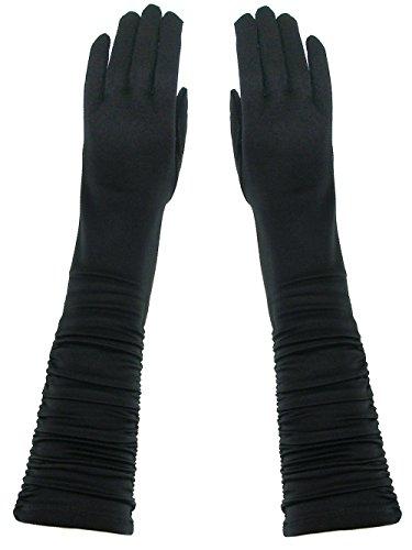 Formal Gathered Arm Shinny Stretchy Satin Gloves Black (16 Inch Satin Gloves)