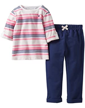Baby Girls' 2 Piece Embroidered Knit Pants Set (Baby)