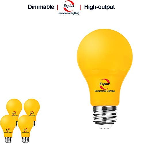 Explux Dimmable Yellow Color LED A19 Bulbs, High-Output Version, Bug Light, 5W (60W Equivalent), 4-Pack