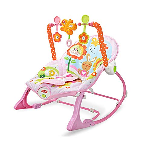Foldable Portable Baby Rocking Chair Multi-Function Music Vibration Baby Comfort Rocking Chair Newborn-to-Toddler (Color : Pink, Size : 764646cm)