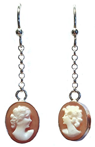 Cameo Earrings Master Carved, French Wire Conch Shell Sterling Silver Double Face Italian by cameosRus