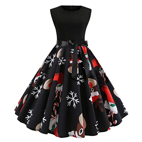iSkylie Women 1950s Retro Cocktail Swing Party Dress Christmas Theme Cross Bow Tie Notes Print Vintage Dress Party Sleeveless Dress(M,Black) (Patient Gown Tie)