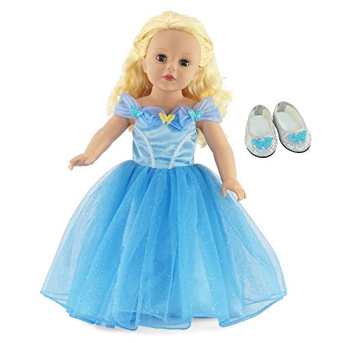 Emily Rose 18 Doll Clothes | Fabulous Princess Cinderella Ball Gown with Sparkly Glass Slippers Shoes | Fits American Girl Dolls