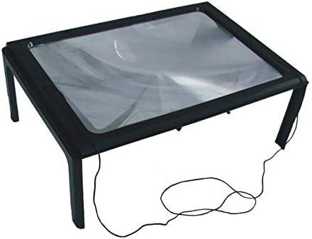 A4フルページラージ3Xテーブルハンズフリーデスク折りたたみ式拡大鏡読書用拡大鏡裁縫用編み物読書用ガラス-ブラック