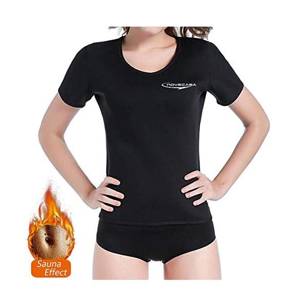NOVECASA Camisetas Sauna Mujer Neopreno Tama/ño Aumentado para Europa T-Shirt Transpirar para Sudoraci/ón Quema Grasa Faja Abdome Adelgazante