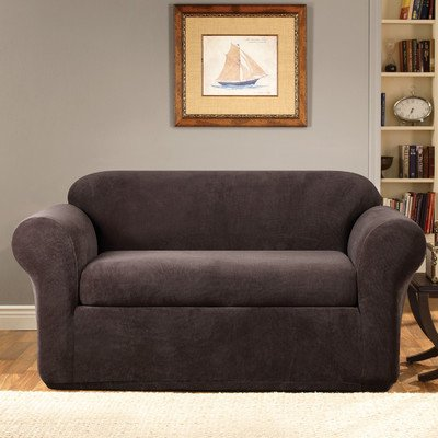 Sure Fit Stretch Metro 2-Piece - Loveseat Slipcover  - Espresso (SF39418) by Surefit
