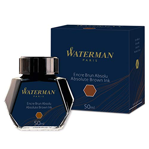 Waterman 1.7 oz Ink Bottle for Fountain Pens, Absolute Brown Absolute Brown