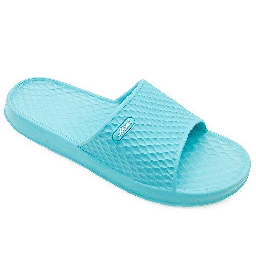 FUNKYMONKEY Mens Womens Bathroom Shower Slippers Indoor Home Beach Non Slip Sandal (US Women 8, Blue)