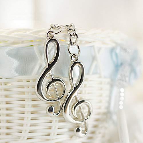 argento Moda unisex acciaio inossidabile placcato argento metallo chiave di violino icona musicale simbolo portachiavi regalo catena chiave