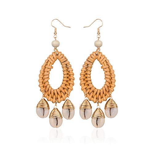 Teardrop Shell Rattan Earrings for Women Girls Handmade Straw Wicker Braid Lightweight Drop Dangle Earring Bohemian Statement Jewelry (Oval-coffee)