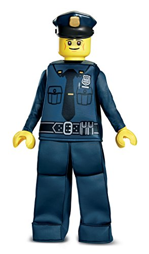 Disguise Lego Police Officer Prestige Costume, Blue, Medium (7-8)]()