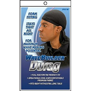 WAVE BUILDER Du-Rag with Extra Long Tails BLACK (Model: 192)