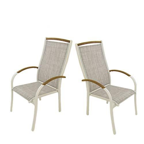 Edenjardi Pack 2 sillones de Exterior de Aluminio Blanco y ...