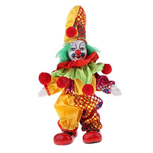 SM SunniMix 6inch Lovely Handmade Clothing Clown Doll Halloween Christmas Decor Gifts #1 (Collectible Porcelain Clown Doll)