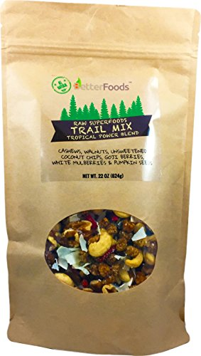 Raw Superfoods Raisins-Free Trail Mix - Tropical Power Blend (Goji Berries, Coconut Chips, Mulberries, Cashews, Walnuts, Pumpkin Seeds)