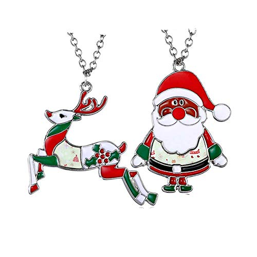 YOUYUZU Christmas Reindeer Santa Claus Pendant Necklace CZ Crystal for Women Girls Gifts Jewelry