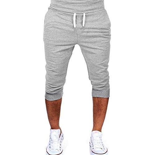 Men's 3/4 Yoga Jogger Capri Pant,Elastic Waist Training Workout Training Shorts with Pockets (L, Gray)