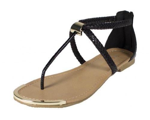 Harty! Etter Byer Klassifisert Metall Innredning Med Sprukket Slange Tekstur Strappy Thong Sandaler I Sort Slange