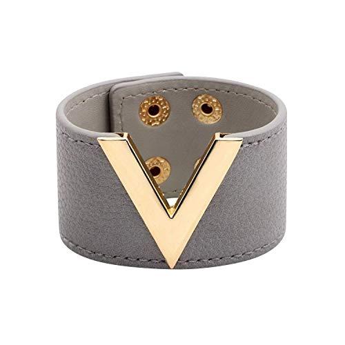 - Designer Inspired Wide Cuff Leather Wrap Bracelet V Shape 21cm 8 inch Length (Light Grey)