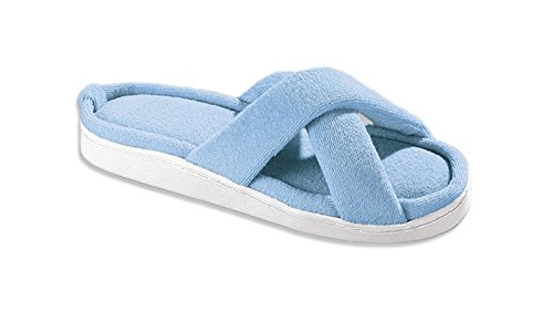 Usn Cross (Versatile Terry Criss Cross Memory Foam Slippers Blue - Size Medium- (Ladies Up To Size 6.5 to 9))