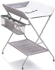 Fillikid Inklapbare Verzorgingstafel - Mobiele Commode met Aankleedkussen, Veiligheidsgordel en Opbergvakken - Grijs met Stippen